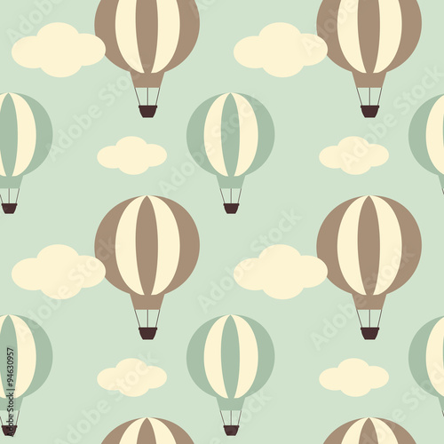 cute vintage hot air balloon seamless vector pattern background illustration