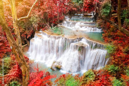 Foto auf Gartenposter Wasserfalle Deep forest waterfall in autumn scene at Huay Mae Kamin waterfal
