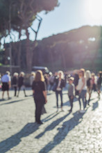 Blurred Crowd Of Taking Photo People In Rome