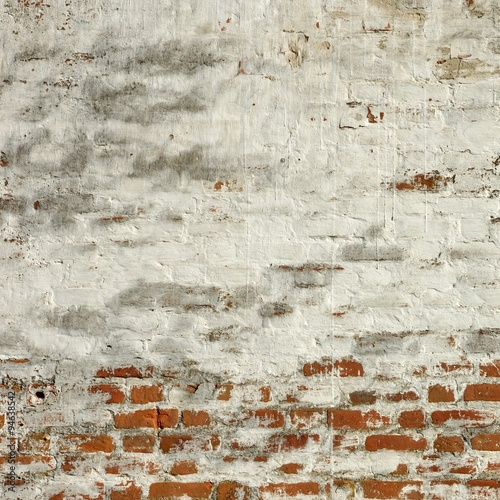 Foto op Canvas Stenen Red White Brick Wall Square Fragment Texture