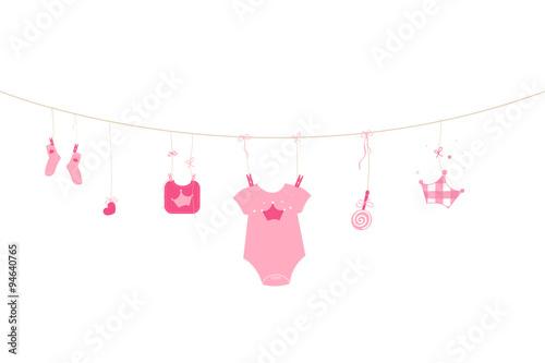 Newborn baby girl symbols baby arrival greeting card vector buy newborn baby girl symbols baby arrival greeting card vector m4hsunfo