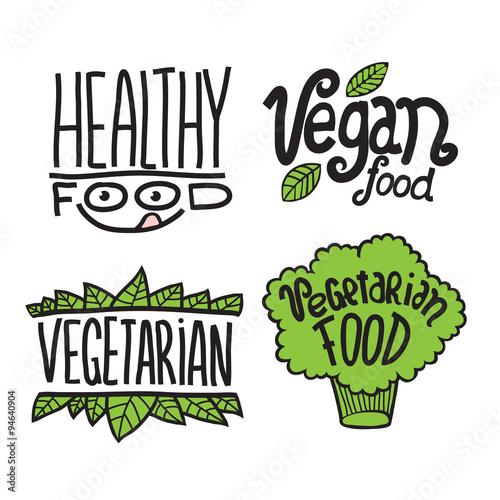 Cartoon Doodle Vector Hand Drawn Logotype Sticker Vegetarian Healthy Vegan Food Buy This Stock Vector And Explore Similar Vectors At Adobe Stock Adobe Stock