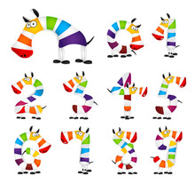 Collection Of Numbers. Made Of Colorful Animal Cartoon Rainbow Zebra. Vector