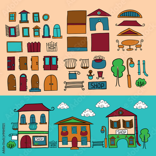 Poster de jardin Route Cartoon vector houses constructor. Isolated elements kit. City creator. Make your perfect city.
