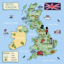 Cartoon Map Of United Kingdom For Kids.
