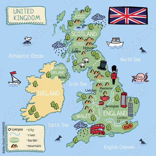Kids Map Of England.Cartoon Map Of United Kingdom For Kids Buy This Stock Vector And