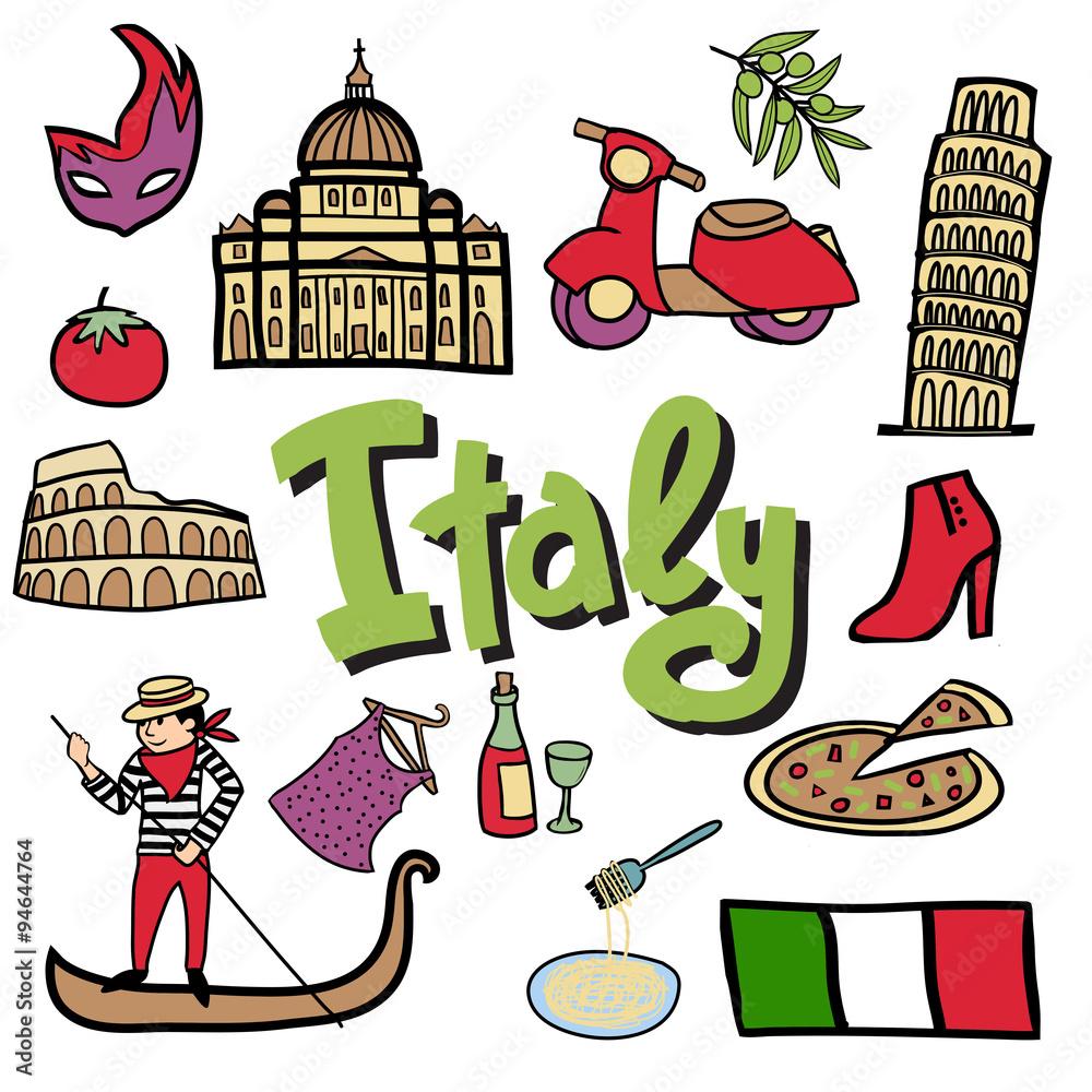 Cartoon vector set Italian elements. Canvas Print