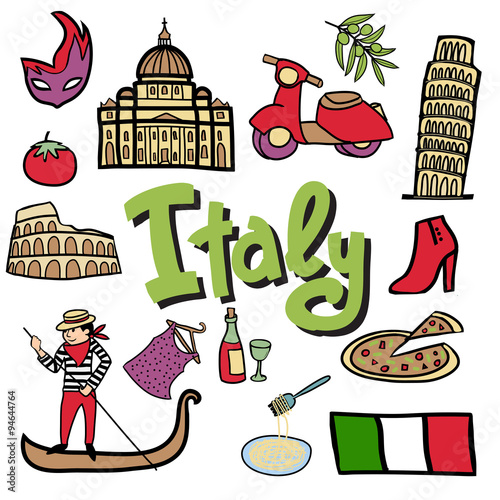 Photo  Cartoon vector set Italian elements.
