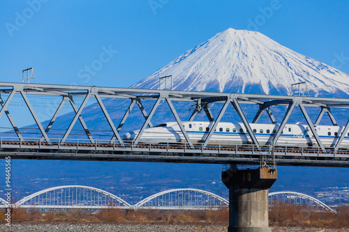 View of Mt Fuji and Tokaido Shinkansen, Shizuoka, Japan.. Wallpaper Mural