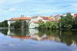 Colorful medieval Town Pisek above the river Otava, Czech Republic