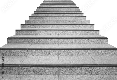 Aluminium Prints Stairs Long stair concrete isolated on white background