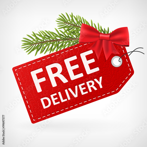 Christmas Red leather free delivery label Wall mural