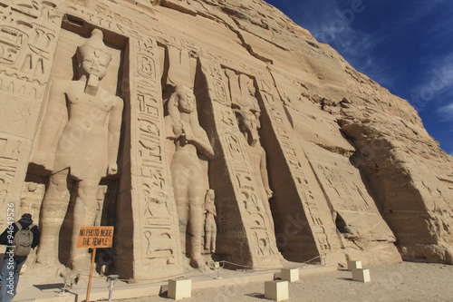 In de dag Egypte エジプト、アスワンのアブシンベル大神殿