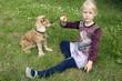 canvas print picture - Maedchen, spielen, Hund