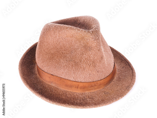 f54143f08fe22 Old Felt Hat Isolated On White - Buy this stock photo and explore ...