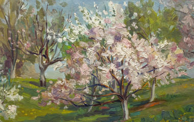 Beautiful Original Oil Painting of flowering tree in the summer garden  Landscape On Canvas