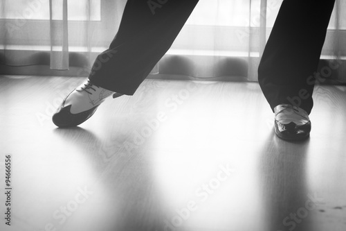 Foto op Canvas Dance School Shoes feet legs male ballroom dance teacher dancer