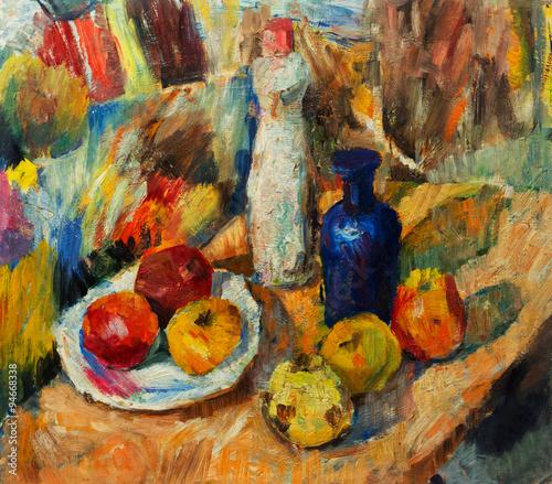 Zdjęcie XXL Piękny oryginalny obraz olejny z martwa natura wazon jabłka jasne kolory Red Orange Green On Canvas