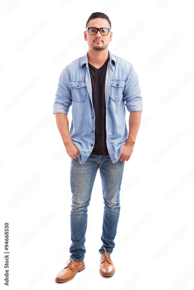 Fototapeta Young hipster man wearing glasses