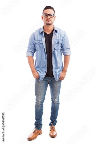 Fototapeta Young hipster man wearing glasses obraz