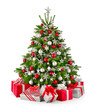 Christbaum und Geschenke in Rot und Silbergrau