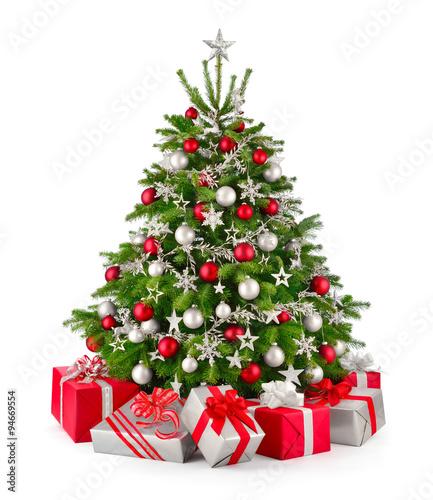 Foto-Tapete - Christbaum und Geschenke in Rot und Silbergrau (von Smileus)