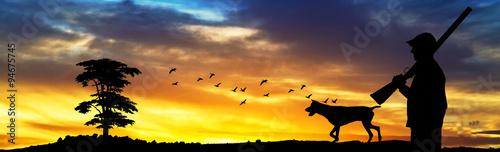 Spoed Foto op Canvas Jacht cazador en el monte