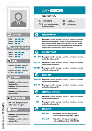 resume cv vector concept layout in a4 format business resume