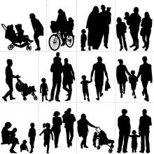 Silhouettes De Familles, De Pa...