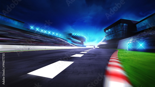 Photo sur Toile F1 view of the start finish line and paddock on the racetrack