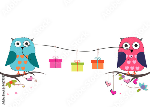 Poster Uilen cartoon Cute owls with gift box vector background
