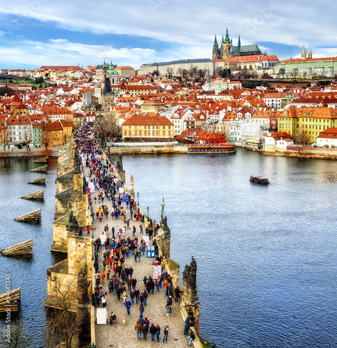 Poster Prague Panorama of Prague with the Castle, Charles Bridge, Vltava river