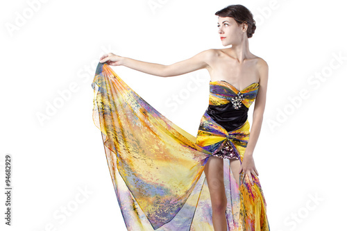 b6309ddb Young female wearing a fashionable yellow silk tie dye dress - Buy ...
