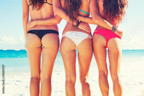 Fotografie, Obraz  Beautiful Girls in Bikinis on Tropical Beach