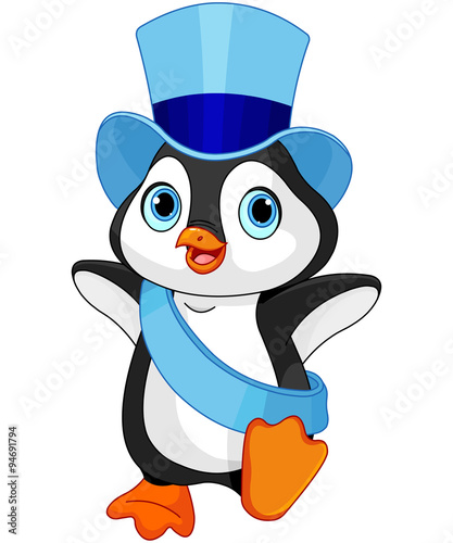 Printed kitchen splashbacks Fairytale World New Year baby penguin