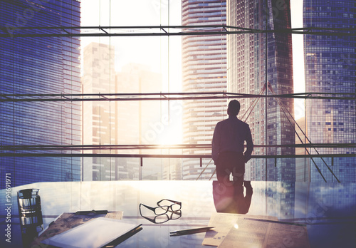 City Scape Businessman Leader Thinking Concept