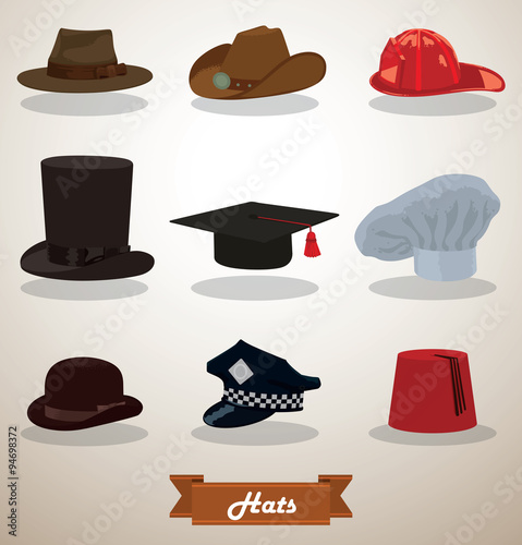 5e23fc21ff1a1 Vector Set of Hats. Image of nine different hats: felt hat, cowboy hat,  firefighter helmet, tall hat, square academic cap, chef's hat, bowler hat,  ...