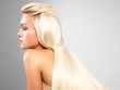 canvas print picture - Blond woman with long straight hair