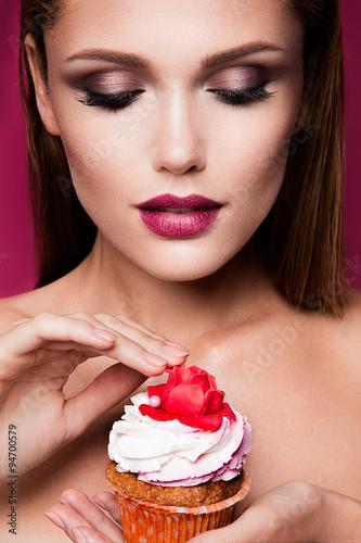 Beautiful fashion girl with cupcake Poster