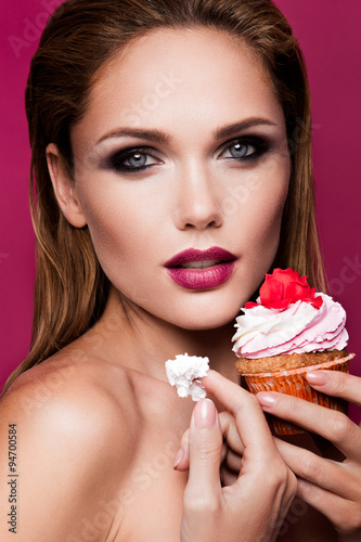 Beautiful fashion girl with cupcake Poster