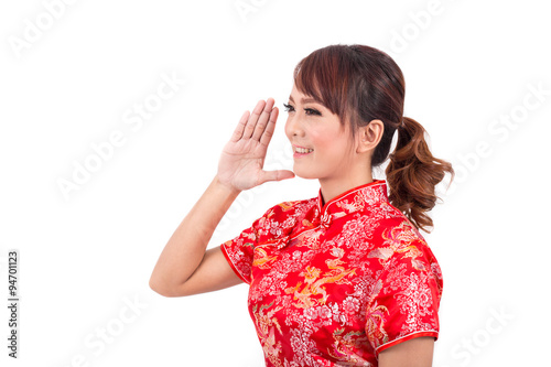 Asian chinese girl greeting in traditional chinese chinese new asian chinese girl greeting in traditional chinese chinese new m4hsunfo