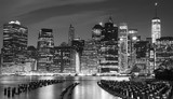 Black and white photo of Manhattan waterfront, NYC, USA. - 94703555