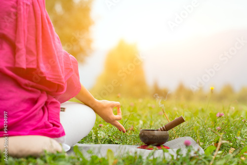 Yoga position with Tibetan bell Canvas Print
