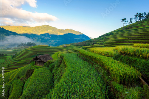 Terraced rice fields of ethnic people in Mu Cang Chai district of Lao Cai province, Vietnam. It is world cultural heritage in Vietnam.