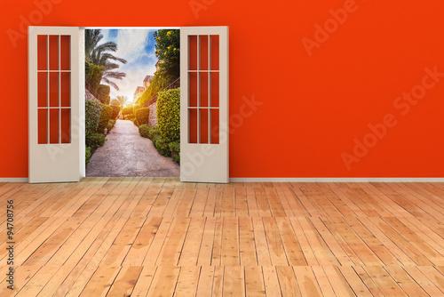 Poster de jardin Rouge 3d room with opened door