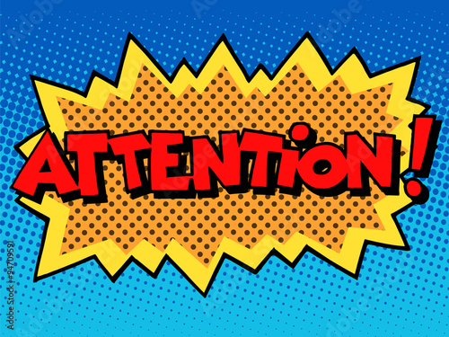 Fototapeta attention inscription comic book style