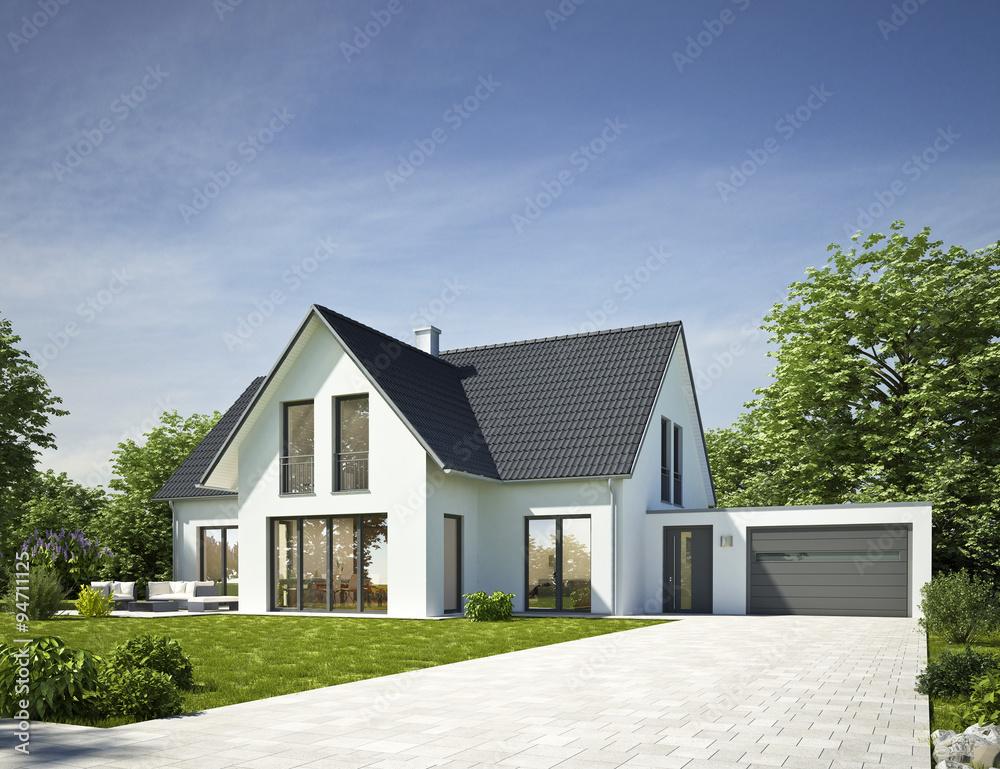 Fototapeta Haus Standard weiß mit Garage