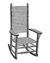 Wickerwork Rocking Chair Engra...