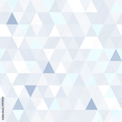 obraz lub plakat Triangular shape shimmering blue seamless pattern. Geometric shiny background.