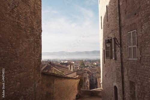 Poster Artistiek mon. Gubbio Umbria Italia panorama